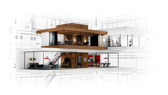 Projekt domu nabiałym tle